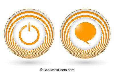 set of two orange icons with symbols