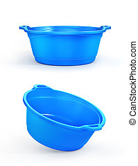 Set of two plastic basin in different view, isolation on a white. 3d illustration