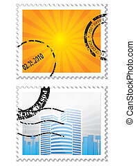 Set of two post stamps on white