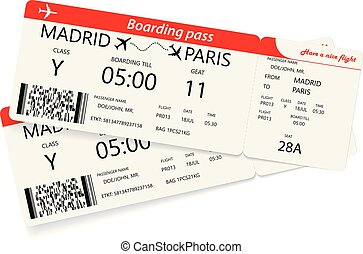 Set of two red boarding pass tickets