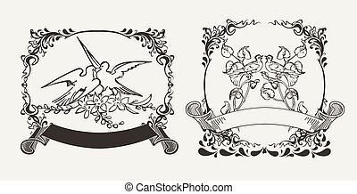 Set Of Two Romantic Doves Compositions