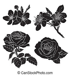 Set of two rose and two cherry silhouettes