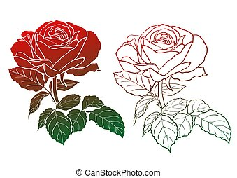 Set of two rose silhouettes