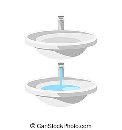 Set of two round ceramic sinks with water faucets, empty and...