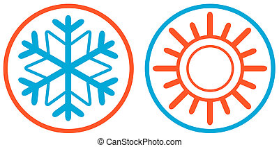 snowflake and sun isolated icon