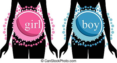 Set of two silhouettes of pregnant women. vector