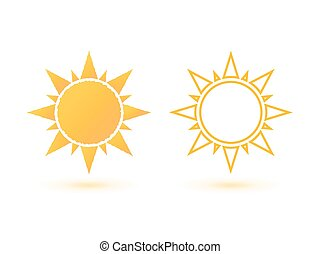 Set of two simple, abstract sun icons.