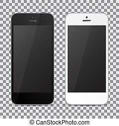 Set of two smartphones. Black and white. Vector illustration