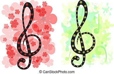 Set of two stylized treble clef backgrounds. Eps 10