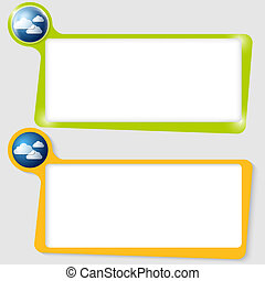 set of two text boxes for text with the cloud