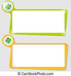 set of two text boxes for text with the cloverleaf