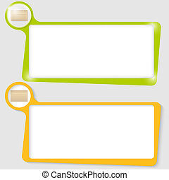 set of two text boxes for text with the envelope