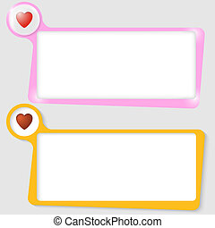 set of two text boxes for text with the heart