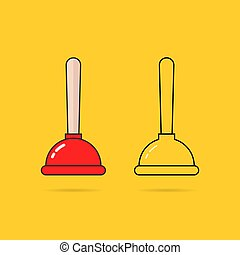 set of two thin line plunger icon. flat contour trend modern...
