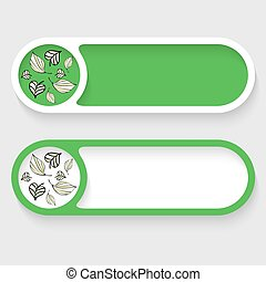 Set of two vector abstract buttons and leaves icon