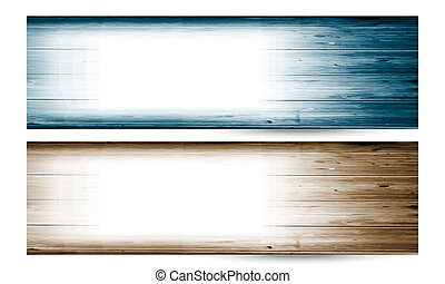 set of two vector banner with wood pattern