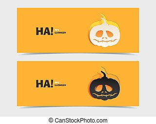 Set of two vector banners with pumpkin cut out