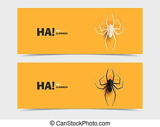 Set of two vector banners with spider cut out