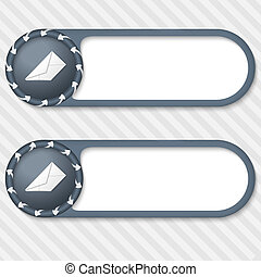 set of two vector buttons with arrows and envelope