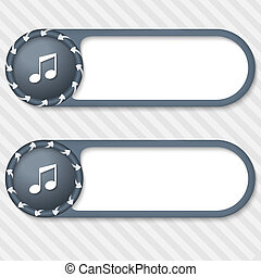 set of two vector buttons with arrows and music icon