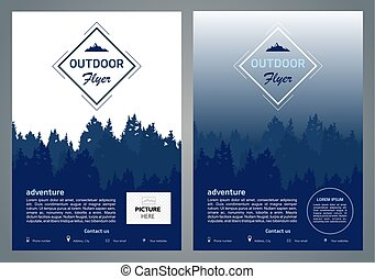 Set of two vector outdoor flyer, brochure, background design with forest silhouette in blue color