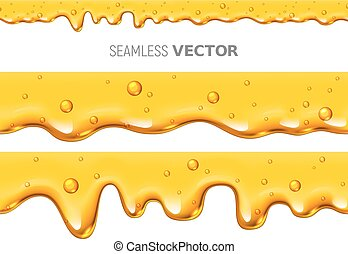 Set of two vector seamless dripping honey on white background