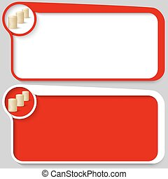 set of two vector text box and coin