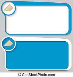 set of two vector text box and envelope