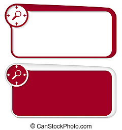 set of two vector text box with arrows and magnifier