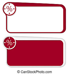 set of two vector text box with arrows and percent sign