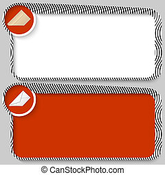 set of two vector text box with pattern and envelope