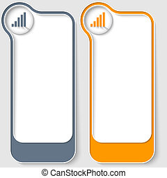 set of two vector text boxes with chart