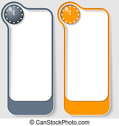 set of two vector text boxes with clock