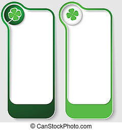 set of two vector text boxes with cloverleaf