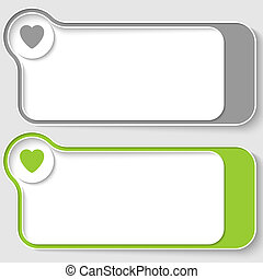 set of two vector text boxes with heart