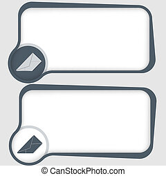set of two vector text frames and envelope