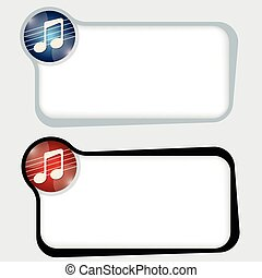 Set of two vector text frames and music icon
