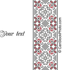 Set of two vertical banners with ethnic patterns. Style of Petrykivka and embroidery stitch in red and black. Traditional Ukrainian ornamental folk art.