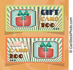 Set of two vintage, elegant, striped, green, orange gift card with dotted, red gift with bow, text, retro design
