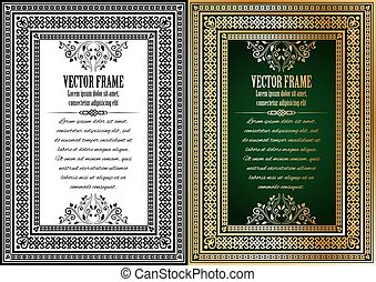 Set of two vintage ornate frames with sample text.