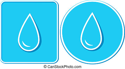 set of two water drop in frame - set of two stickers with...