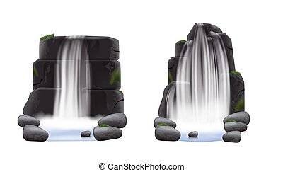 Set of two waterfalls flowing from rocks and stones realistic style