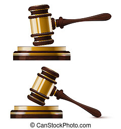 Set of two wooden gold hammer of the judge. Isolated. Vector ill