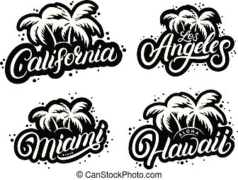 Set of typography graphic prints with palms silhouettes and ...