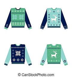 Set of ugly christmas sweaters with snowflakes
