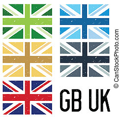 set of uk flags - A set of five grunge style UK flags