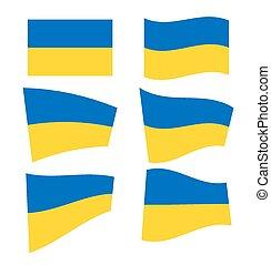 Set of ukrainian flags on white background. Vector...