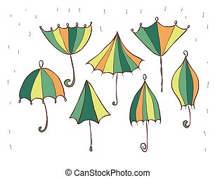 set of umbrellas. different variations. vector illustration isolated on white background
