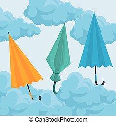 set of umbrellas in the sky