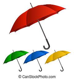 Set of umbrellas on white background